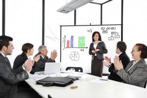 woman giving good presentation