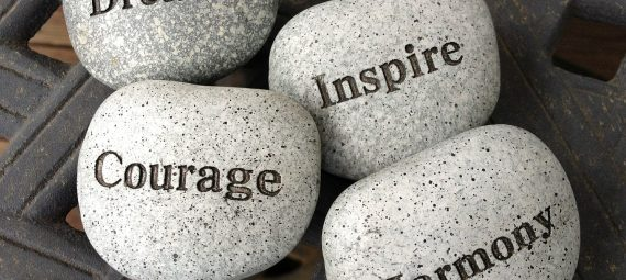 dream, inspire, courage, harmony stones