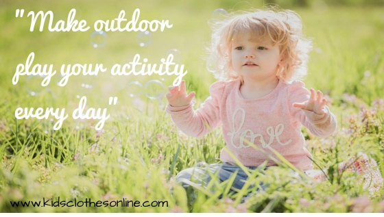 child in a meadow with the title make outdoor play your activity every day