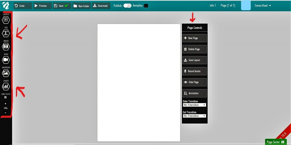 screenshot of infographic design creation page